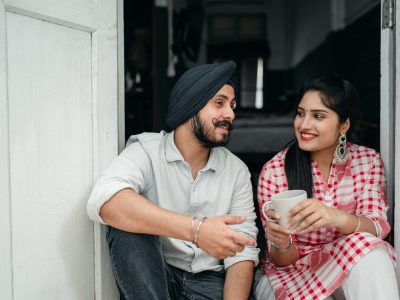 A Sikh gentleman talking to his sister.