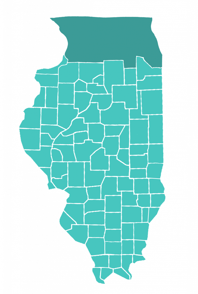 Map of Illinois highlights counties served by The Immigration Project.